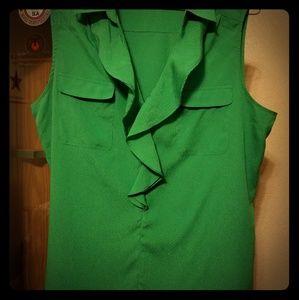 Green sleeveless blouse